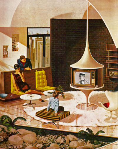 1970s dream house. Uncomfortable furniture, easily stained carpets, impractical entertainment option placement and NOTHING TO WATCH ON TV. At least dad's smoking and mom got dressed up for the day.
