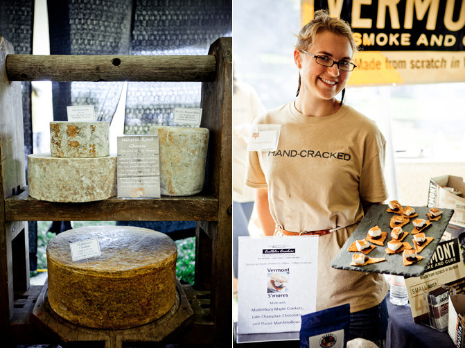 Forbes has a piece on the Vermont Cheesemakers Festival, a don't-miss event for cheese lovers in the region:  By most estimates the Green Mountain State has more cheese makers per capita than any other place, and about 45 producers belong to the Vermont Cheese Council. The state is home to the nation's largest cheese aging cave, a 22,000 square foot facility consisting of seven underground vaults. It is owned by Jasper Hill Farm, one of the most acclaimed dairies in the cheese-mad state, but shared and used for aging by several artisanal cheese makers. Now Vermont is doing more than just making and selling great cheese, they are using it to drive tourism and educate the public. The Vermont Cheese Trail (downloadable as a pdf file) includes about 20 diaries open to the public and offering some sort of tour, many with cheese tasting, and these dot the state in a visitor-friendly manner from the southern border to the Canadian border, east, west and central. There is no spot in the state far from a cheese maker. The Vermont Farmstead Cheese Company just opened (last month) an impressive new public facility showcasing both its own production and the sale of cheese from numerous Vermont artisans, plus an ice cream stand, in an industrial complex in Windsor that is already home to the Simon Pearce glassblowing plant and very popular Harpoon Brewery with tours, beer tasting and a restaurant. Cheese fans should put Sunday, July 22 on their calendars. That's the date of the Vermont Cheesemakers' Festival, an annual event featuring more than 200 Vermont cheeses, along with other locally made artisanal foods, wood fired pizza, Vermont beers, and award-winning Vermont wines. There will be a live cooking show and cheese making demonstration, plus two seminars, How Cheese Works and Matchmaking Vermont Style, which pairs the state's best wines and cheeses. The festival is held at Shelburne Farms just outside Burlington, and general admission is $40, or $50 with a beer, wine and spirits tasting ticket.  (photos ©2012 vtcheesefest.com)
