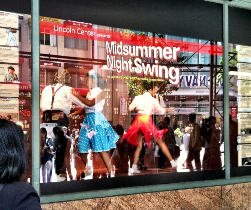 The Jitterbug Kids put on their dancing shoes in a window at Macy's to kick off the 24th season of Lincoln Center's Midsummer Night Swing, which starts tonight in Damrosch Park at 6:30.