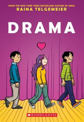 Teen Review Drama Raina Telgemeier Pub 9-2012, Graphix, $10.99 You may not be familiar with Raina Telgemeier. If you are, then you know that she's the woman who brought four of The Baby-Sitters' Club novels to life through graphic novels. She also wrote and illustrated Smile, a graphic novel about her middle school and early high school years. Being familiar with her other works, I was excited to read Drama, and it definitely scored in many places. This book dealt with a controversial issue, though, which I'll disclose thoughts on later on in the review. Drama, like Ms. Telgemeier's other works, is a graphic novel. It tells the story of Callie, a theatre-loving seventh grader who is working on her middle school's production of Moon Over Mississippi. After kissing the boy she's liked for quite a while, he sort of rejects her, leaving Callie upset. Then she meets Justin and Jesse, twin boys who are in the eighth grade, and the three immediately spark a close friendship. As with all of Ms. Telgemeier's books, the art is exquisite. Her illustrations are absolutely wonderful. The way she captures human emotion in her drawings is truly brilliant. Honestly, even if you don't like the story, the book is worth keeping solely for the sake of its illustrations. As I mentioned earlier, this book dealt with a controversial issue: homosexuality. Some people have a problem with it; others do not. If you don't have a problem with homosexuality, then I think you'll love this book. If I were to look at the book from the point of view of someone who is accepting of the issue, then I would love this book. If, however, you are a person who does have a problem with homosexuality, then you may not love the book as much, seeing as how it is a fairly vital point to the plot. I will say this, though: to Ms. Telgemeier's credit, her book does not in any way criticize Christians or other people who do not endorse homosexuality. Being a Christian myself, I very much appreciated that. All in all, Drama is a good read. The plot is intriguing, the illustrations are stunning, and I do believe that it's possible for anyone to enjoy the book, no matter what your personal beliefs are. Though Drama is, in my opinion, not Ms. Telgemeier's best work, it and its characters will have a place in my heart. -Rachel P., 16