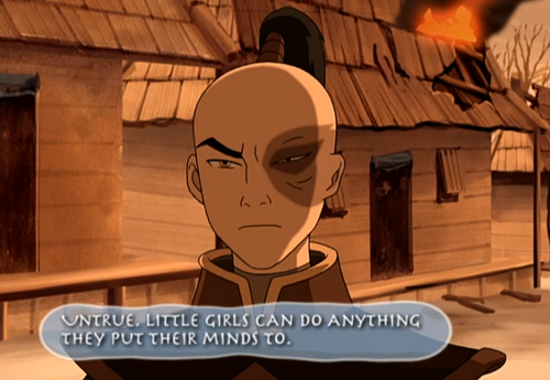 "Still of Zuko from that episode with a fun fact bubble saying, ""Untrue. Little girls can do anything they put their minds to."""