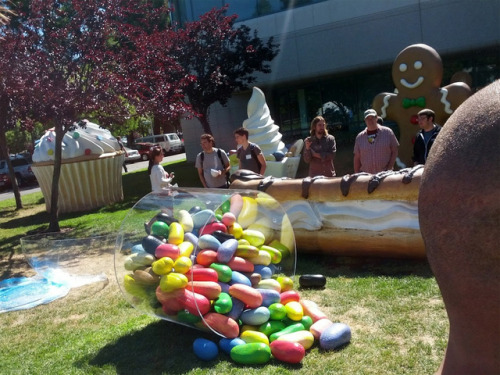thisistheverge:  Android 4.1 Jelly Bean monument appears on Google's lawn Why are they spilled?