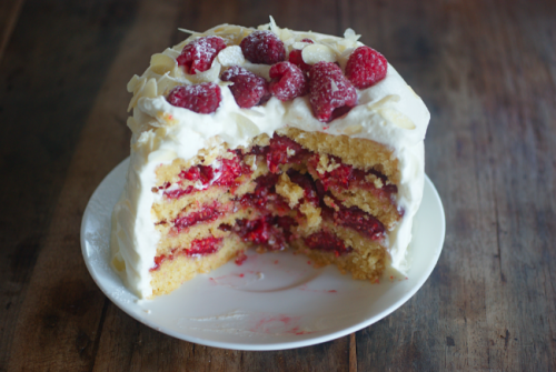 raspberry almond layer cake click here for recipe