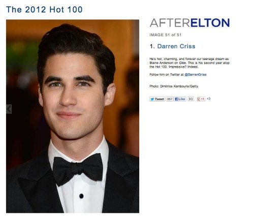 Darren is #1 on AfterEltons Hot 100! Followed by Chris Colfer #2 and Matt Bomer #3.