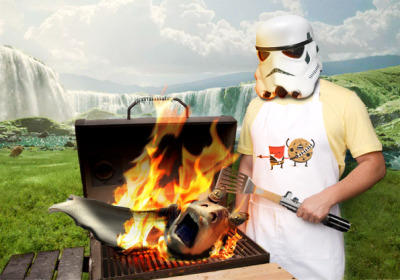 Enjoy some Char Char Binks Speedy Joe @Threadless was having some grilling fun with the help of a Photoshop contest and my witty sense of humor. I hope you like them.  How about some Fresh Grilled Koopa Kabobs?  Get your Grilled Hearts while they are Fresh. Hope you like them Rare and on Fire.  Grill up some ROUS? As you Wish.  I'm just saying…  This will NOT end well.  Grill it up like a Pig in a Poke.
