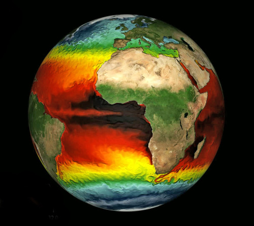 infinity-imagined:  Fluid dynamics of Earth's ocean, colored by surface temperature. Credit: NOAA, Thomas Delworth, Anthony Rosati.  Watch the animation here.  This is a fine accompaniment to the Van Gogh-esque Perpetual Ocean current visualization. I wouldn't mind seeing them on top of each other.
