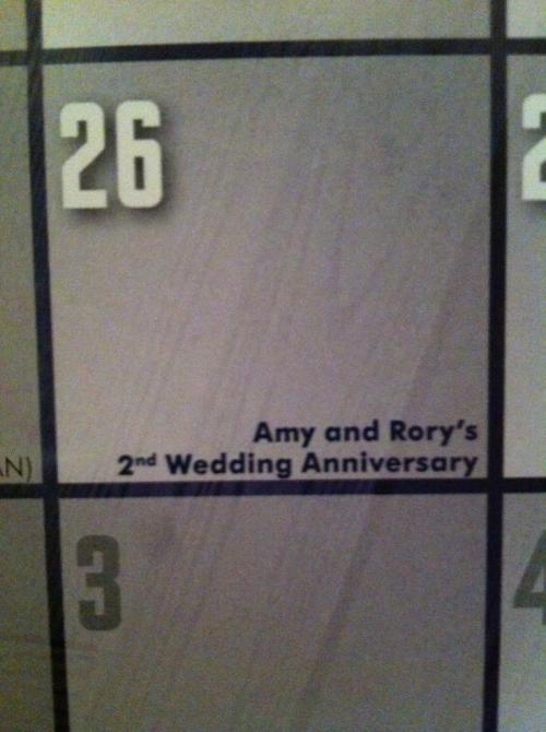 June 26 speakgeek2me:  Happy Anniversary Amy and Rory!  Also Happy TARDIS Exploding Causing a Crack in the Universe Day!