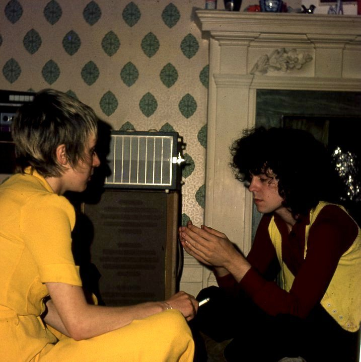 fuckyeahbolan:  marc bolan & his future wife, june child, at producer tony visconti's home, circa 1970.  pictures i love