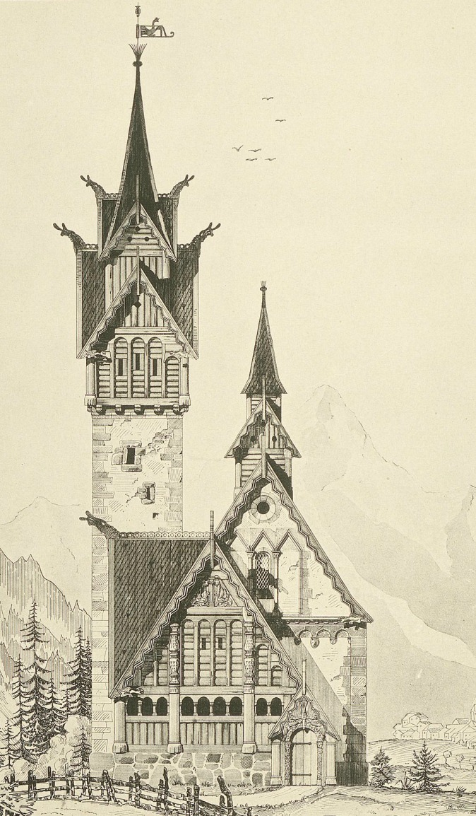 booksnbuildings:  Design for a church in Nordic style. (Architect: Bernhard Apelt c. 1899)