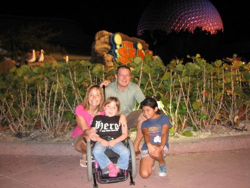 Haley and her family outside of The Seas with Nemo and Friends at Epcot during her Disney wish!