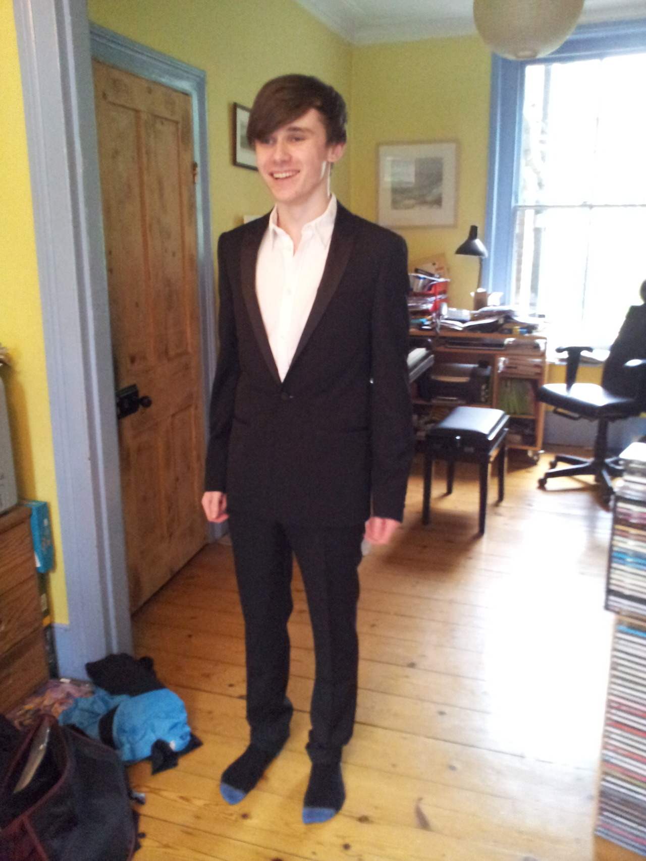 How bourgeois do I look? Tuxedo from Sandro Paris Erm, it still needs a bit of work done to the sleeves, and the trousers need hemming, but yeah. (I also badly need a haircut!) Also, I don't currently have a dinner shirt, but if someone links me up with a really slim fitting one, then I'll love you forever.