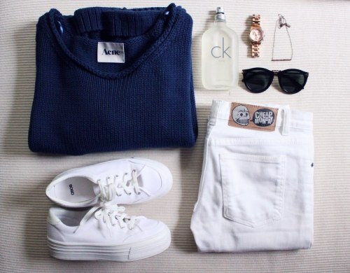 what-do-i-wear:  1. Acne knit2. ASOS sneakers3. CK One4. Michael Kors watch5. Vanessa Mooney necklace6. Karen Walker sunnies7. Cheap Monday jeans (image: studdedheart)