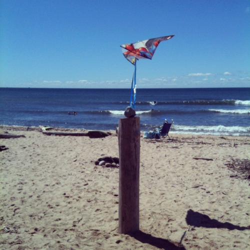 Self flyer. Ditch Plains, Montauk