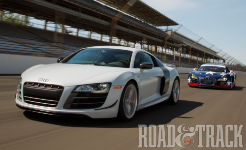We're pitting the 560 bhp 2012 Audi R8 GT vs. the 480 bhp R8 Grand-Am to see the differences between an exceptionally fast road car and a purpose-built race car. (Source: Road & Track)