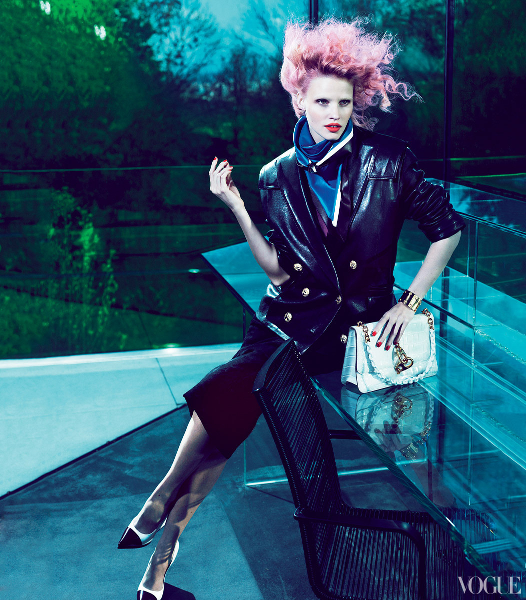 Lara Stone @ IMG Models  Vogue, July 2012  Editorial - 'Risky Business'  Leather Jacket - Balmain  Skirt - Maxfield, LA Cuffs - Tom Ford  Shoes - Céline  Photo Credits - Mert & Marcus