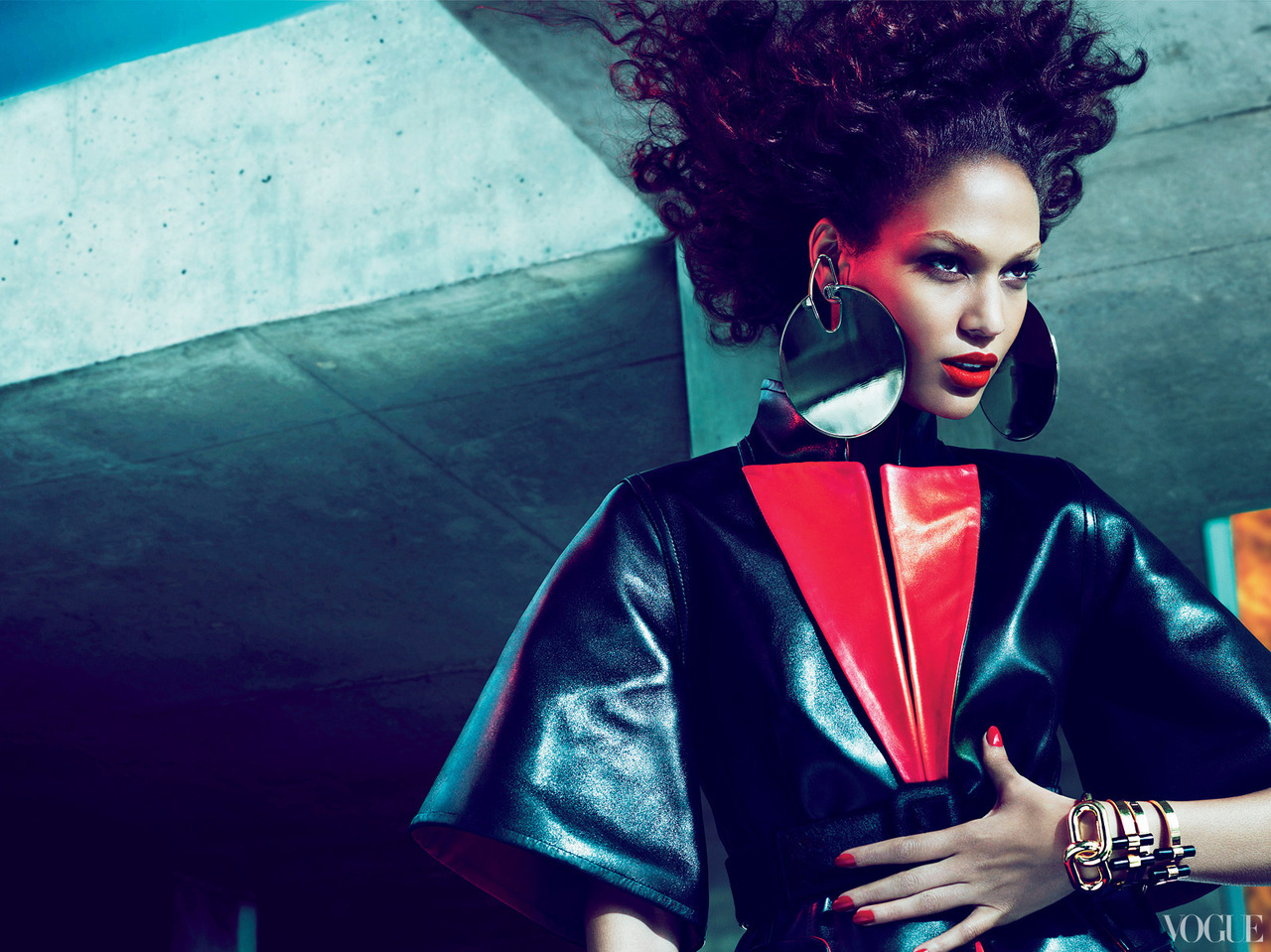 Joan Smalls @ IMG Models  Vogue, July 2012  Editorial - 'Risky Business'  Leather Coat - Givenchy by Riccardo Tisci  Jewellery - Tom Ford  Photo Credits - Mert & Marcus