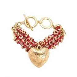 Hamsa Woven Metal Heart Charm Bracelet Only $26