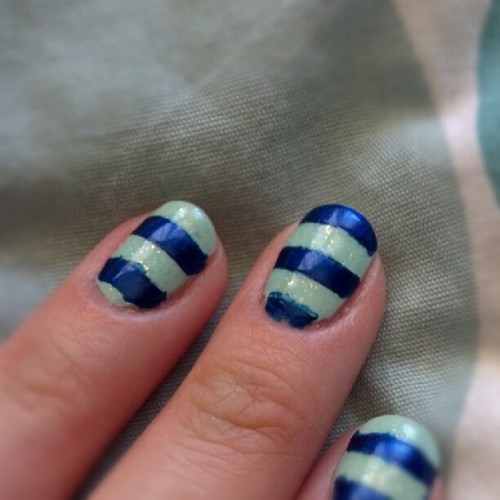 #nails #nailart #stripes #blue #green #sparkle #glitter #essie (Taken with Instagram)