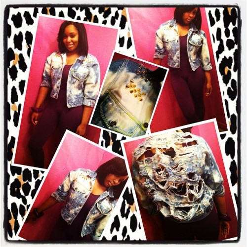 This Dollhouse Denim exclusive can be purchased at Pretty Girls Rock (Oak Park) #denim #custom #shredded #stud #studded #vintage #bodysuit #fashion #dope #hot (Taken with Instagram)