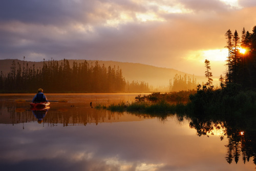 kayaking at sunrise, pittsburg, nh (by andrew c mace)