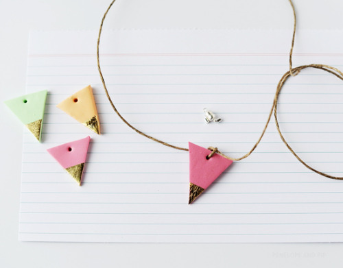 DIY Gold Leaf Geometric Necklace from Poppytalk.