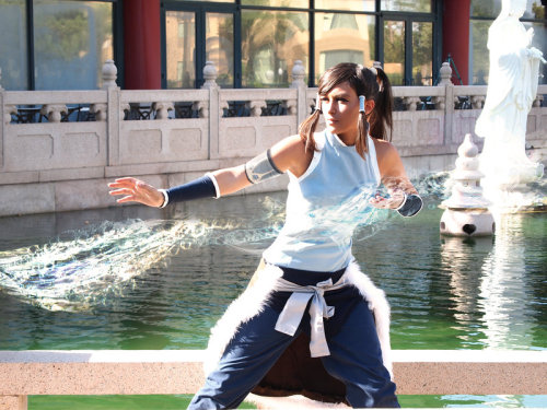 Korra Cosplay - Waterbending by *Aicosu / photography by Rin This is seriously cool.