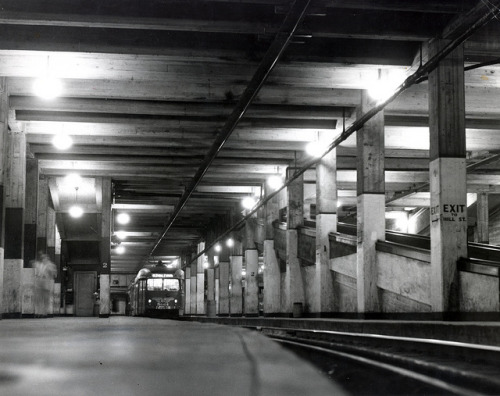 Pacific Electric Subway Terminal on Flickr.circa 1945. Pacific Electric Railway car number 5001 to Glendale in the subway terminal.