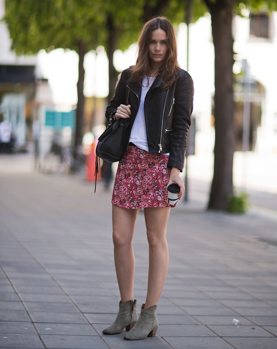 what-do-i-wear:  jacket and skirt by Rika (Skindeep.se), tee from Gina Tricot, boots from Isabel Marant and bag from Balenciaga. (image: carolinesmode)