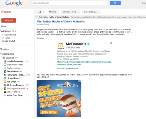 I believe White Castle just big-leagued McDonald's in my Google Reader.
