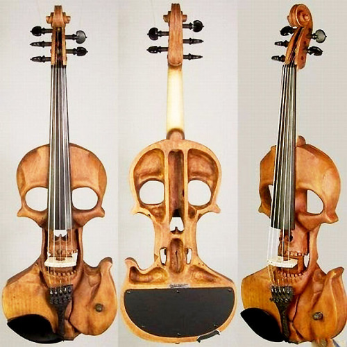 2headedsnake:  mileanhour.com Jeff Stratton, Skull 5-string Electric Violin, Wood Regula  Trippy