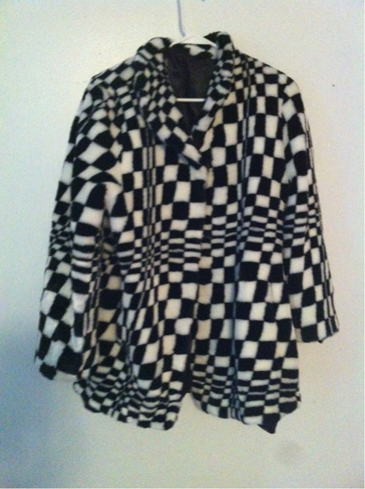 PSYCHEDELIC CHECKERED WARPED SOFT FUR COAT