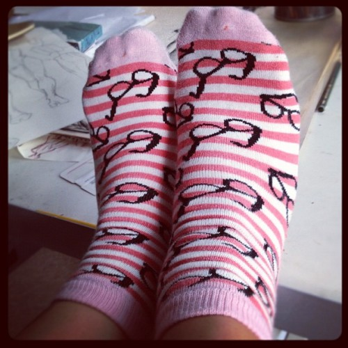 My socks were made for me! 😭 #socks #glasses #pink #stripes #feet #nerd #iphone #igers #instagram #instadaily (Taken with Instagram)
