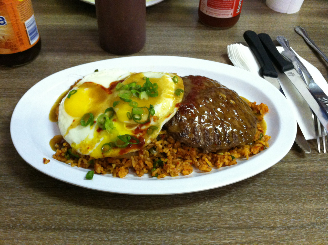 Korean Loco Moco (Kimchi Fried Rice, Burger Patty, and two eggs topped with curry) - HRD coffee shop