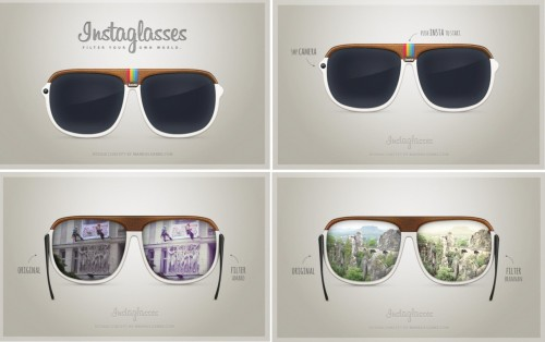 "INSTAGLASSES. Can you imagine? We sure can! A concept thought up by German designer Markus Gerke, glasses embedded with a 5-megapixel camera with one lens as you you would normally see it, and the other as the world looks according to Instagram.  The other perks? WiFi, 2-GB of internal memory and seven hours of battery life. We know this is only a design concept, but we are hoping Gerke turns this into ""reality""!     source: mrkate.com"