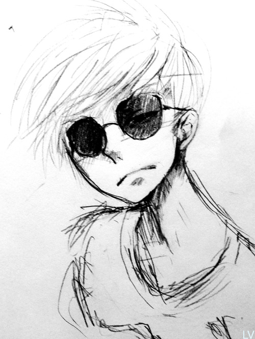deadlazlo:  a sketch of dave strider i did on the train. im too lazy to scan it so here's a photo. :V