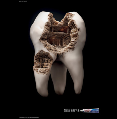 Don't Let Germs Settle Down, Japanese Ad for toothpaste