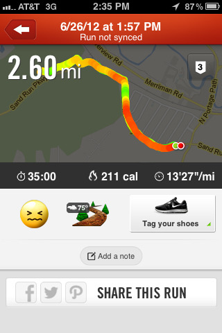 today's run! My goal on Nike+ was 2.25 and I exceeded it. My pace was actually around 10:30, it just got screwed up on the counter because I walked the last bit and then also walked to my car without stopping the counter.