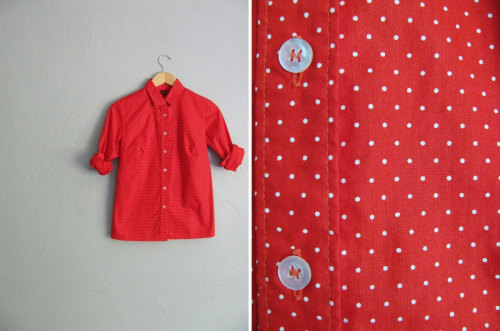 bright red & white polka dot oxford button-up at darling vintage