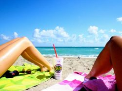me girls tan summer sky colorful beach sand waves ocean sunny tropical smoothie