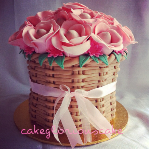 20 Cake Pop Roses arranged in a basket of cake!