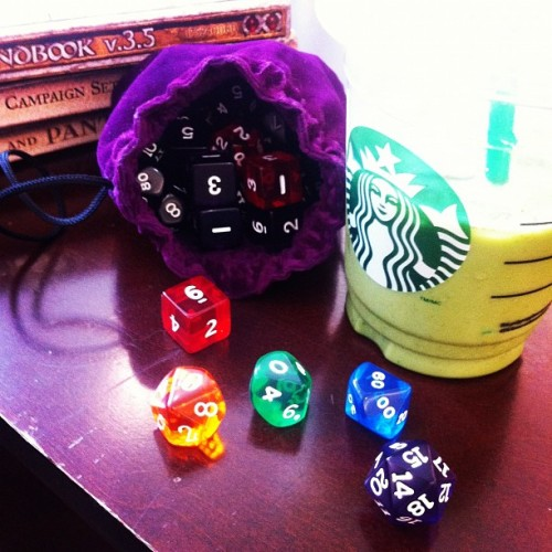 Today's goody bag! #dnd #dungeonsanddragons #dice #starbucks #tea #greentea #books #rainbow #pride #nerd #geek #joy (Taken with Instagram)