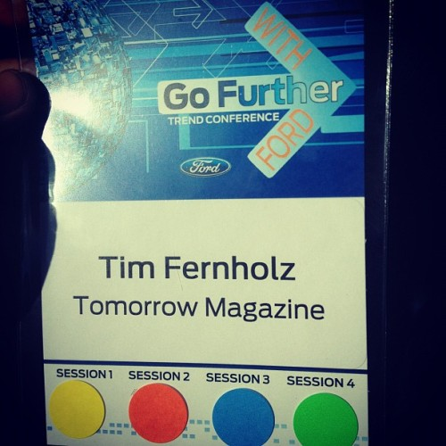 Tomorrow editor Tim Fernholz is in Detroit today, and this is his Ford press pass. Guess we're a real magazine now.