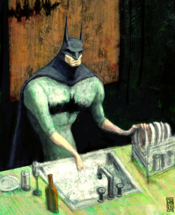 2headedsnake:  gabrio76.deviantart.com Batman at home by Gabriel Hernan Ramirez