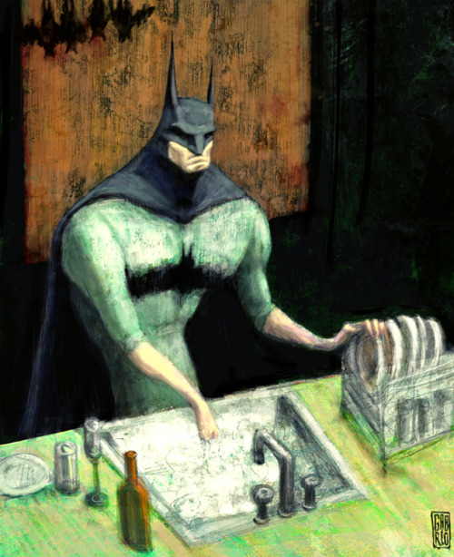 2headedsnake:  Batman at Home by Gabriel Hernan Ramirez