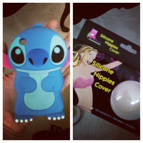 my presents from @shellz6  been wanting the #stitch case and then she got me covers for my dresses LOL  loveee you boo #birthday (Taken with Instagram)