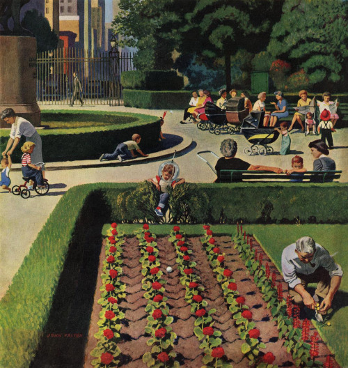 Garden Invasion, art by John Falter.  Detail from cover of June 5, 1954 Saturday Evening Post.