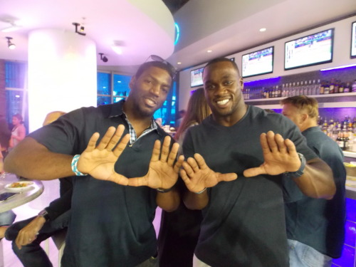 Former University of Miami standouts Jonathan Vilma and Jon Beason are in the house tonight at Marlins Park.