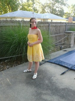 "My ""pikachu"" dress. (So dubbed because I had the red scarf in my hair when I first tried it on.)"