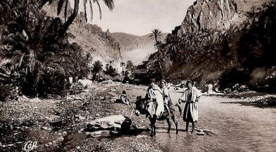 Morocco Vintage Postcard - Berber Men in a River Gorge, c 1920s