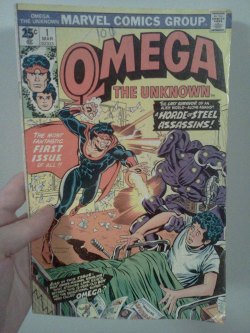Omega The Unknown #1, Marvel Comics, 1976 I don't usually pick out Marvel comics, but this one seemed fairly interesting.  It actually ended up being a somewhat complicated story.  There are two separate narratives, one involving the superhero and the other involving the little boy.  Ultimately the narratives converge, in more ways than one.  This was not completely unlike watching an episode of the tv show Lost, only in the amount of mysterious questions that are raised.  In all, I guess it was fun getting to read an old 70's Marvel comic.